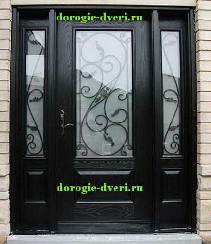 двери входные из металла со стеклом модерн