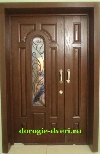 двухстворчатые двери входные металлические со стеклом