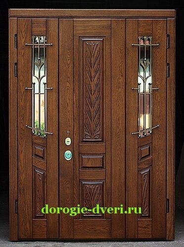 стальная двухстворчатая дверь со стеклом для входной группы